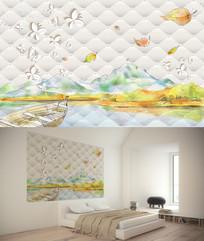水彩风景软包背景墙