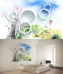 水彩画背景墙