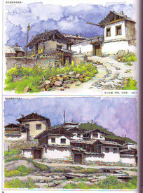 四川古镇建筑手绘