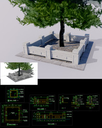 sketchup 中式树池栏杆  附带cad施工图图纸 skp