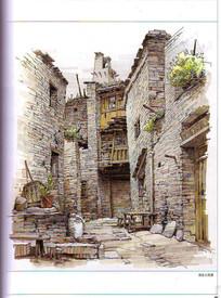 桃坪羌寨建筑手绘