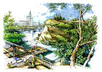 特色观景台手绘