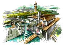 特色建筑屋顶泳池景观