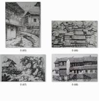 特色中式古建筑手绘