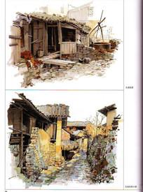 文成古镇建筑景观手绘