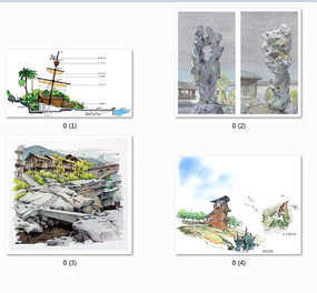小品景观设计手绘效果图