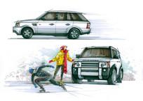 行驶的汽车手绘