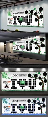 员工风彩照片树形象墙展板