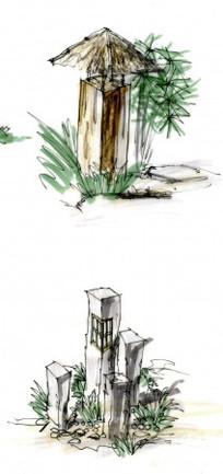 中式草坪灯景观手绘 JPG