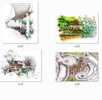 住宅小区景观设计手绘效果图