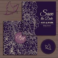 紫色线条花纹请帖模板