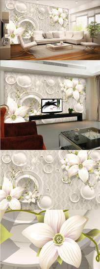 3D桃花电视背景墙