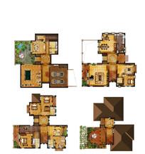 豪华4层别墅户型平面图
