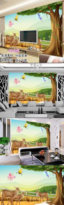 简约代现森林麋鹿儿童房背景墙