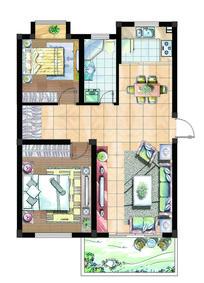 两室两厅经济型室内平面图