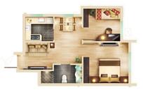 两室两厅精美平面图