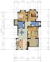 三室两厅户型图 PSD