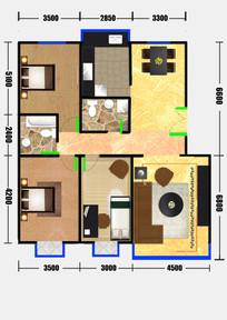 三室两厅户型图设计 PSD