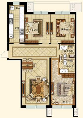 3d素材 材质|贴图|cad图库 cad图库 二室二厅100平米cad设计图  三室图片