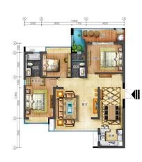 三室两厅两卫高清平面图