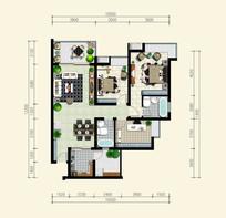 三室两厅两卫户型平面图