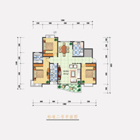 三室两厅两卫户型图