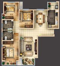 三室两厅两卫精美户型图