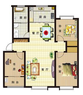彩平手绘 住宅室内设计彩平 psd彩色家居户型平面图库 宽敞三室两厅