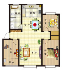 三室两厅室内彩色平面图 PSD