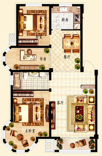 三室两厅一卫户型图 PSD