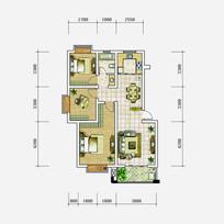 三室两厅一卫手绘风户型图