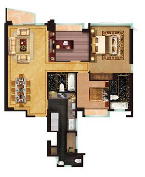 三室一厅户型图 PSD
