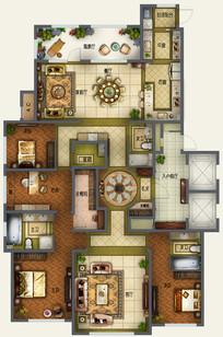 四室两厅三卫豪华户型图