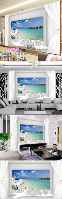 现代简约爱情海风景客厅电视背景墙