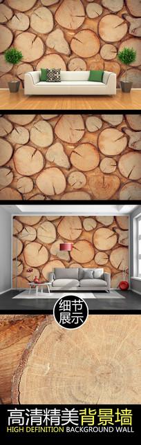 原生态木材纹理电视背景墙