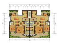 跃层花园别墅一层户型平面图
