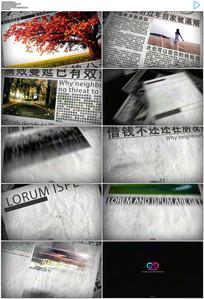 震撼复古怀旧灰色报纸图文展示ae模板