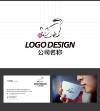 宠物店猫的LOGO标志设计