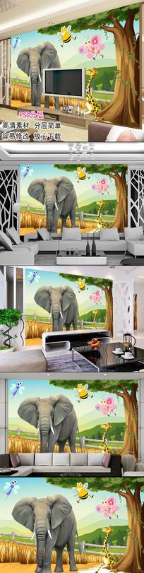 3d背景墙大象动物世界儿童房背景墙
