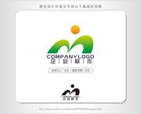M字母i绿色太阳健康logo设计 AI
