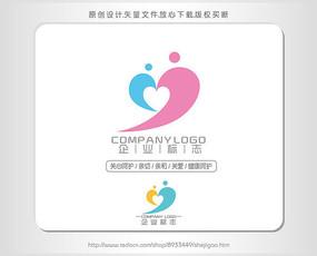 j字母心形母婴幼儿logo设计