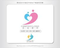 j字母心形母婴幼儿logo设计 AI