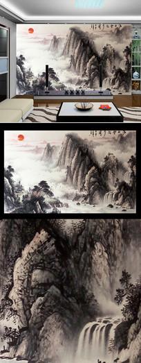 泰山日出油画图背景墙