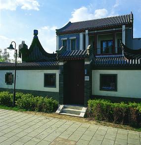 别墅中式风格入户景观意向图
