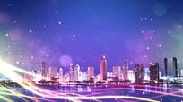 房地产蓝紫色调年终盛典晚会主题背景