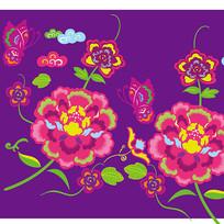 个性牡丹花与蝴蝶插画