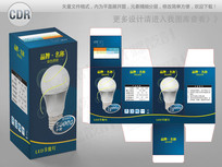 蓝色简约LED节能灯包装 CDR