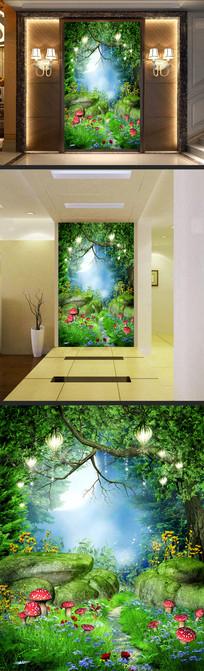 梦幻原始森林野花蘑菇小路玄关装饰画
