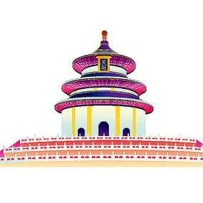 七彩天坛手绘插画