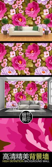 手绘大气牡丹花卉电视背景墙